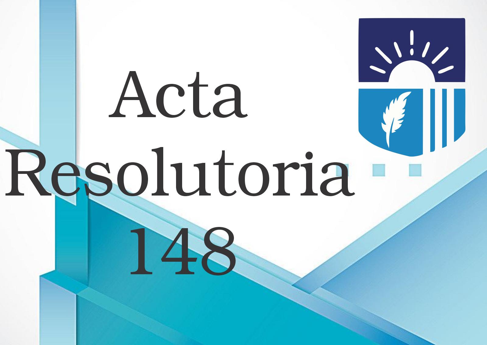 ACTA RESOLUTORIA 148 DE 2020